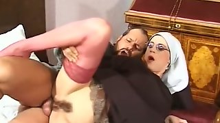 Dirty Nun With Shaved Head And Hairy Twat Cheats On Faith