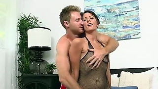 Short Haired Minx In Fishnet Bodysuit Loves A Good Nice Sex