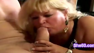 Chunky Blond Granny Goes Naughty Blowing Horny Badass Cock
