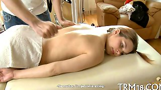 Shaved Teen Laid Out Naked On Massage Table And Groped