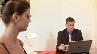 Talented Secretary In Striped Stockings Fucks Her Boss