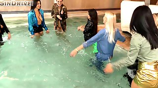 Pool Orgy Lesbians - Lesbians have a clothed orgy as the guys watch - Fap18 HD Tube - Porn videos