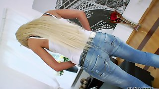 Hot Solo Model In Jeans Dildo Bangs Pussy And Asshole