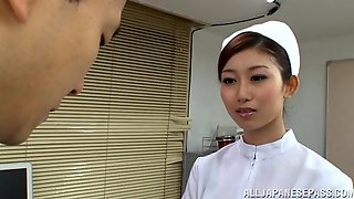 Asian Nurse In Nylon Pantyhose Enjoys Her Pussy Being Licked