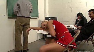 Sexy Cheerleader Gets Cum In Her Mouth