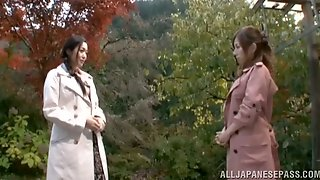 Two Gorgeous Japanese Babes Are Going Lesbian Under The Sakura Tree