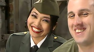 Asian Girl In Military Uniform Spanks A Guy And Sits On His Face