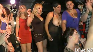 Sexy Ladies Get Groped By Strippers And Give Head In Club