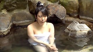 Asian Cutie In The Baths Gives A Beautiful Blowjob