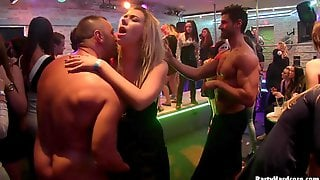 Slutty Clothed Hotties Get Fucked Roughly In A Nightclub