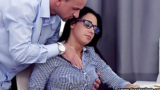 Nerdy Babe Gladly Rides The Cock Of The Guy Who Seduced Her
