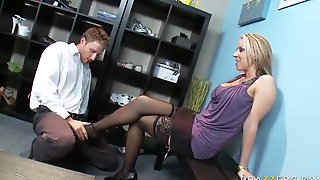 Busty Shoe-Loving MILF Carolyn Reese Footjobs And Fucks In The Store