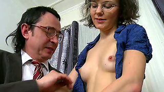 Disgusting Brunette Teen In  Glasses Performs Dirty BJ To Her Teacher