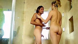 Fair Haired Sexy Slut Sucks Stiff Penis Of Feverish Man In Bathroom
