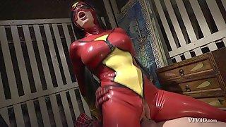 Superhero Slut In Spandex And Spider Man Fucking