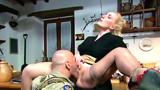 Curvaceous Slutty Housewife Cheats On Hubby With Brutal Officer