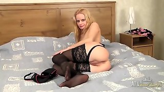 Sensual Black Lingerie Is Perfect On A Tight Blonde Milf