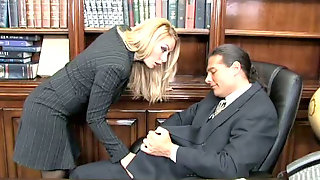 Provocative Secretary Jerks Off And Sucks Dick Of Her Patron