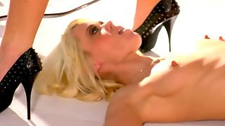 Kinky Blonde And Redhead Lick Each Others Shoes