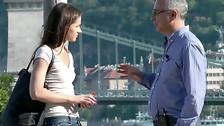 Old Horny Man Seduces Cute And Sexy Brunette Irina Bruni To Have Casual Sex