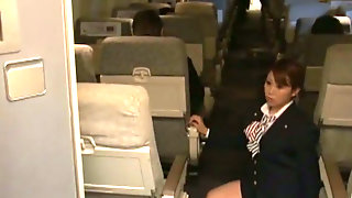 Sexy Stewardess Is Stroking My Dick With Her Hand On A Plane