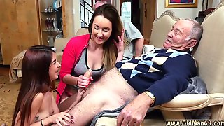Two Mouth Watering Girls Suck Grandpas Fat Pecker