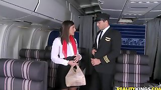 Sex In The Airplane With A Smoking Hot Stewardess