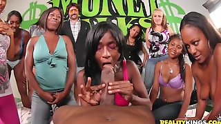 Ebony Funny Contest And Curly Hair Girl Gets Hardcore