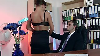 Dirty Secretary Will Do Anything To Satisfy Her Bosss Needs