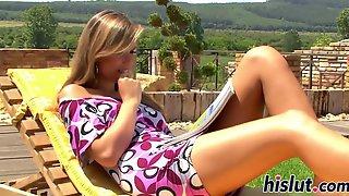 Lusty Brunette Peaches Drills Her Wet Muff