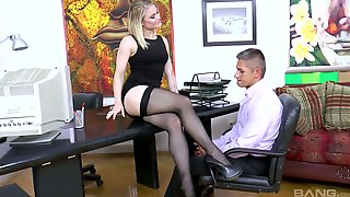 Sassy And Young Blonde Hottie Working In The Office Pleasures Her Boss
