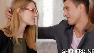 Teen In Glasses Rides Cock Clip Feature 1