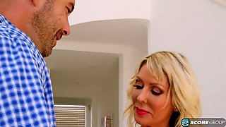 Delicious Blonde Cougar Gets Her Shaved Fanny Blasted