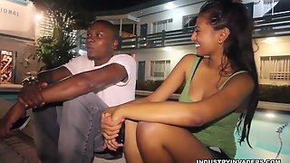 Cumhungry ebony teens gag on big cocks and get cumshot
