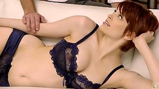 Sensual Redhead Babe With Fine Tits Gets Her Pussy Jizzed