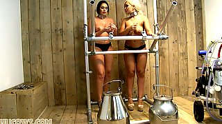 Two Fuckable Big Tits Slaves And Their Milking Machine