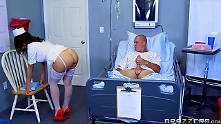 Brunette Nurse Just Cant Resist His Big Cock Anymore