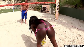 Black Cutie Takes Lucky White Dick