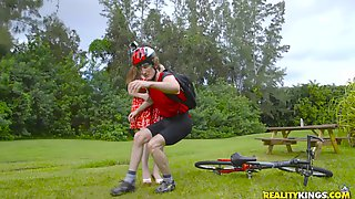 Busty MILF Remy Larue Provokes A Bicycle Accident & Pays For It