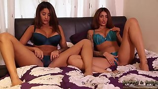 Indian Twins Strip On The Bed And Masturbate