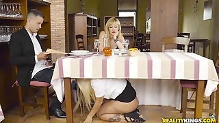 Busty Chick Seduces A Guy And Fucks Him In Restaurant Toilet