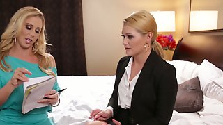 Marvelous Blonde Ladies On The Bed Kiss And Eat Shaved Pussies