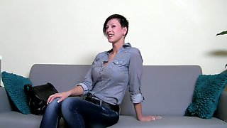 Dark-haired Beauty Is Sucking A Big Tasty Dick