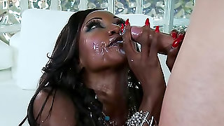 Black milf sucks and fucks to a facial