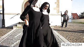 Magnificent Nuns Enjoy Each Other Beautiful Bodies In The Church