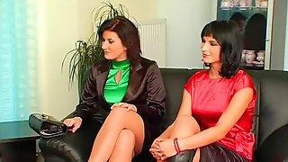 Three Women In Satin Tops Fucked