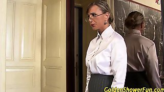 Babes Threeway Pissed On