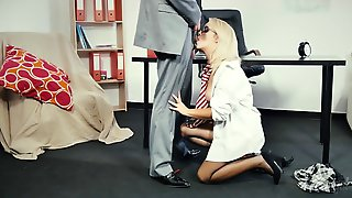 Attractive Blonde College Teacher Gets Deeply Drilled In Her Office