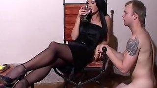 Smoking Domina Shoes Dominating Ashtray Slave While Drinking