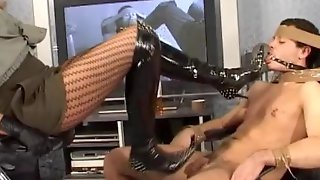 Gagged And Tied Slave Cock Tortured By Police Woman